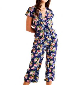 MELA LONDON NAVY FLORAL CROP JUMPSUIT NEW SIZE 16